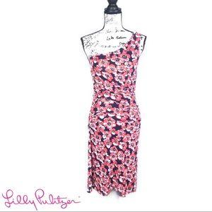 Lilly Pulizter Pink One-Shoulder Midi Dress, Large